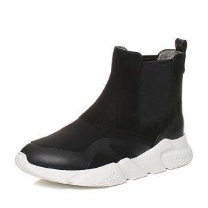 Teenmix/天美意2017冬磨砂牛皮/纺织品厚底切尔西靴女靴CBR41DD7