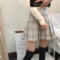 秋冬新款韩国减龄学院风呢子面料复古格子短裙高腰百褶半身裙女