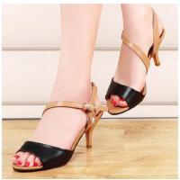 邻家天使夏季新款韩版高跟潮时尚防滑鱼嘴鞋女鞋子凉鞋女细跟中跟拼色NEB-511