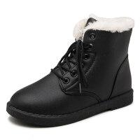 2018冬季新款学生冬鞋短靴加绒马丁靴子短筒棉鞋皮面防水雪地靴女