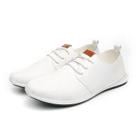 2018秋季新款男士休闲鞋小白鞋软皮韩版潮流英伦白色皮鞋透气潮鞋