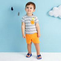 moomoo童装新款夏装男婴童卡通条纹短袖T恤短裤儿童套装