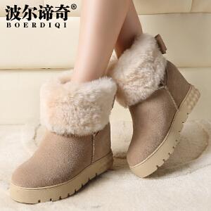 波尔谛奇秋冬新款牛反绒女短靴圆头羊羔毛内增高雪地靴4170