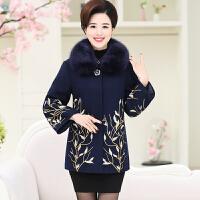 妈妈装秋冬装毛呢外套中长款40-50岁中老年女装秋装大码呢子大衣