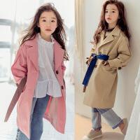 女童外套2018春季韩版新款女中大童纯棉大衣母女亲子装中长款风衣