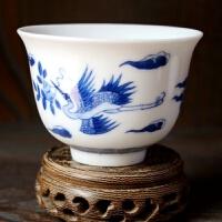 陶瓷茶杯手绘花单杯功夫茶杯陶瓷单个茶具茶道日用家居瓷