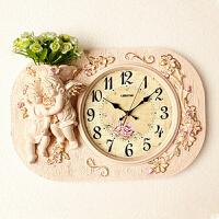 欧式挂钟客厅卧室表艺术插花挂钟个性静音复古装饰墙壁时钟 送花 H267FS 20英寸