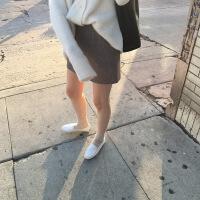 №【2019新款】冬天美女穿的超火的半身裙秋冬女2018新款韩版毛呢短裙包臀一步裙高腰a字裙
