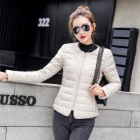 过年穿的冬天年轻人穿的韩版女修身羽绒棉衣圆领加大码轻薄款外套短款棉袄