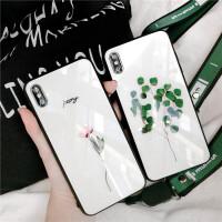 小清新iphone xs max手机壳玻璃苹果xs保护套xr情侣7plus简约6s 苹果XR 6.1小树苗+挂绳