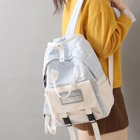 日系ins百搭书包双肩包女韩版高中生大学生格子小清新背包大容量