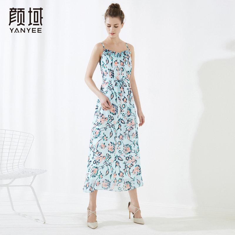 颜域品牌女装2018夏装新款中长款印花吊带连衣裙A字系带小碎花裙