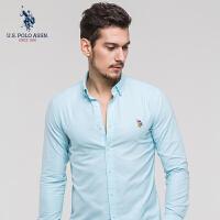 U.S. POLO ASSN.男士长袖衬衫时尚休闲衫衣纯色衬衫2018春季新款