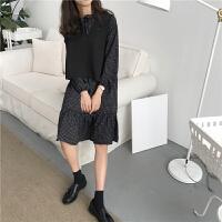 chic格子雪纺连衣裙女长袖春装+韩版V领系带背心马甲打底衫两件套