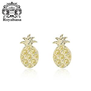 皇家莎莎925银水果耳钉女韩国时尚小菠萝耳钉文艺甜美可爱耳饰品女