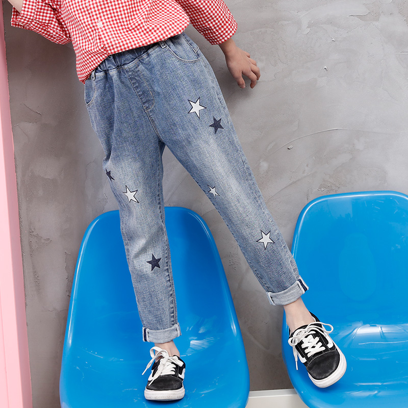 女童牛仔裤2018春季新款宽松韩版弹力女大童哈伦裤小脚裤儿童裤子 浅蓝色 2368 发货周期:一般在付款后2-90天左右发货,具体发货时间请以与客服协商的时间为准
