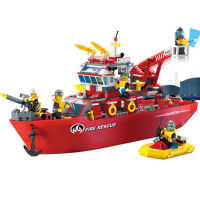 积木拼装小颗粒消防船塑料模型拼插玩具消防系列 消防船909