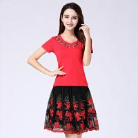 广场舞服装新款套装短袖舞蹈服中老年跳舞服装女舞蹈套裙夏 红色 红色向日葵裙套装