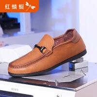 【领�幌碌チ⒓�120】红蜻蜓男鞋春正品真皮休闲鞋男软底豆豆鞋驾车乐福鞋子