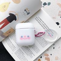 腮红小表情AirPods1保护套个性苹果无线蓝牙耳机盒AirPods2小可爱 半透少女粉