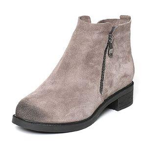 Teenmix/天美意冬专柜同款灰色剖层牛皮女休闲靴(绒里)AO161DD6