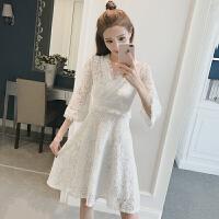 春装新款韩版气质修身显瘦V领七分袖蕾丝连衣裙女百搭打底裙