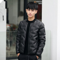 男士轻薄羽绒服男短款修身款青年韩版立领2017新款外套潮 黑色 YRF003