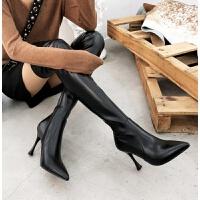 过膝长靴皮面2018秋冬新款长筒靴女过膝黑色皮面时尚尖头高跟细跟性感长靴 TBP 黑色 皮面