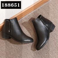 冬季真皮软底舒适短靴加绒保暖棉靴中年女鞋妈妈棉鞋皮鞋女士靴子SN6491