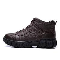 新款冬季高帮棉鞋男士真皮户外加绒保暖雪地靴休闲英伦耐磨棉靴男