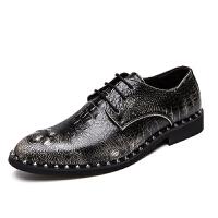 时尚潮男士皮鞋牛皮鳄鱼纹透气秋季尖头商务正装男鞋轻潮单鞋