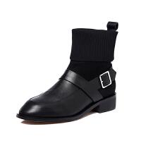 欧洲站2018冬季新款真皮马丁靴低跟毛线筒搭扣女短靴英伦风女靴潮