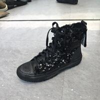 秋季新款靴子女牛皮黑色亮片系带圆头平底韩版女靴
