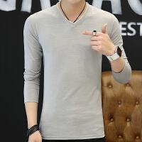 男士长袖T恤V领打底衫青少年韩版修身潮流纯色男装体恤