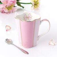日式陶瓷水杯配勺简约咖啡杯欧式骨瓷马克杯纯色下午红茶杯子奶杯3618