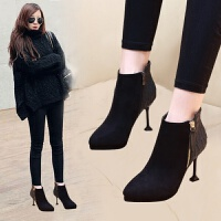 韩版靴子细跟短靴女冬季2018新款猫跟瘦瘦靴尖头高跟鞋百搭马丁靴