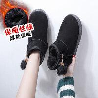 雪地靴女冬短筒靴网红一脚蹬学生百搭短靴子加绒加棉鞋潮 黑 色