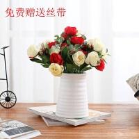 房间创意家居装饰品摆件小摆件摆设卧室客厅酒柜电视柜花室内实用 梯形花瓶+4束 红 玫瑰