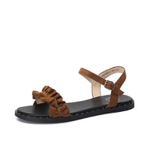 骆驼女鞋2018夏季新款少女甜美时尚舒适好搭平底一字扣凉鞋chic风