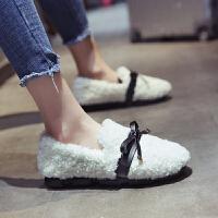 网红毛毛鞋女冬外穿2018新款保暖平底休闲女鞋一脚蹬豆豆鞋加绒潮 白色 (加棉)豆豆鞋