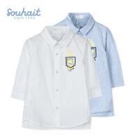 【3件3折:41元】水孩儿souhait男童时尚七分袖衬衫春秋装新款儿童棉短袖衬衫ASCCM554