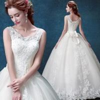 20新款蕾丝一字肩公主新娘新娘绑带齐地婚纱礼服