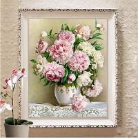 新钻石画十字绣客厅新款牡丹花百合花瓶小幅卧室简约现代玫瑰花