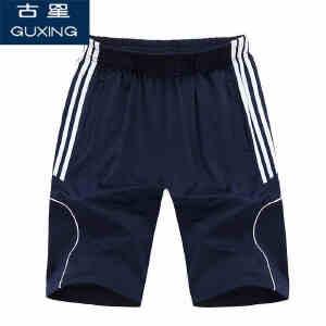 古星夏季宽松大码直筒男士五分短裤针织拉链口袋短裤足球裤男