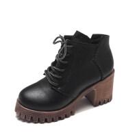 2018新款马丁靴女英伦风厚底短靴女粗跟百搭高跟鞋秋冬复古靴子女