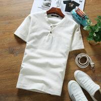 男短袖T恤潮流2018新款韩版修身夏季棉麻薄款v领色复古亚麻半袖 白色 两粒扣