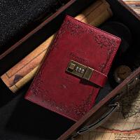 日记本密码锁多功能指纹密码本带锁复古创意记事本加厚本子韩国小清新读书笔记本