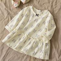 童装 女宝宝纯棉白色可爱公主裙 1-3岁ins春款女童连衣裙 米白色