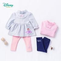 迪士尼Disney 童装女童秋装索菲亚公主长袖宝宝套装可开档休闲娃娃衫183T832