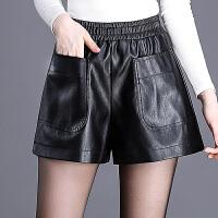 高腰a字阔腿裤皮短裤女秋冬新款大口袋韩版显瘦皮裤子外穿靴裤